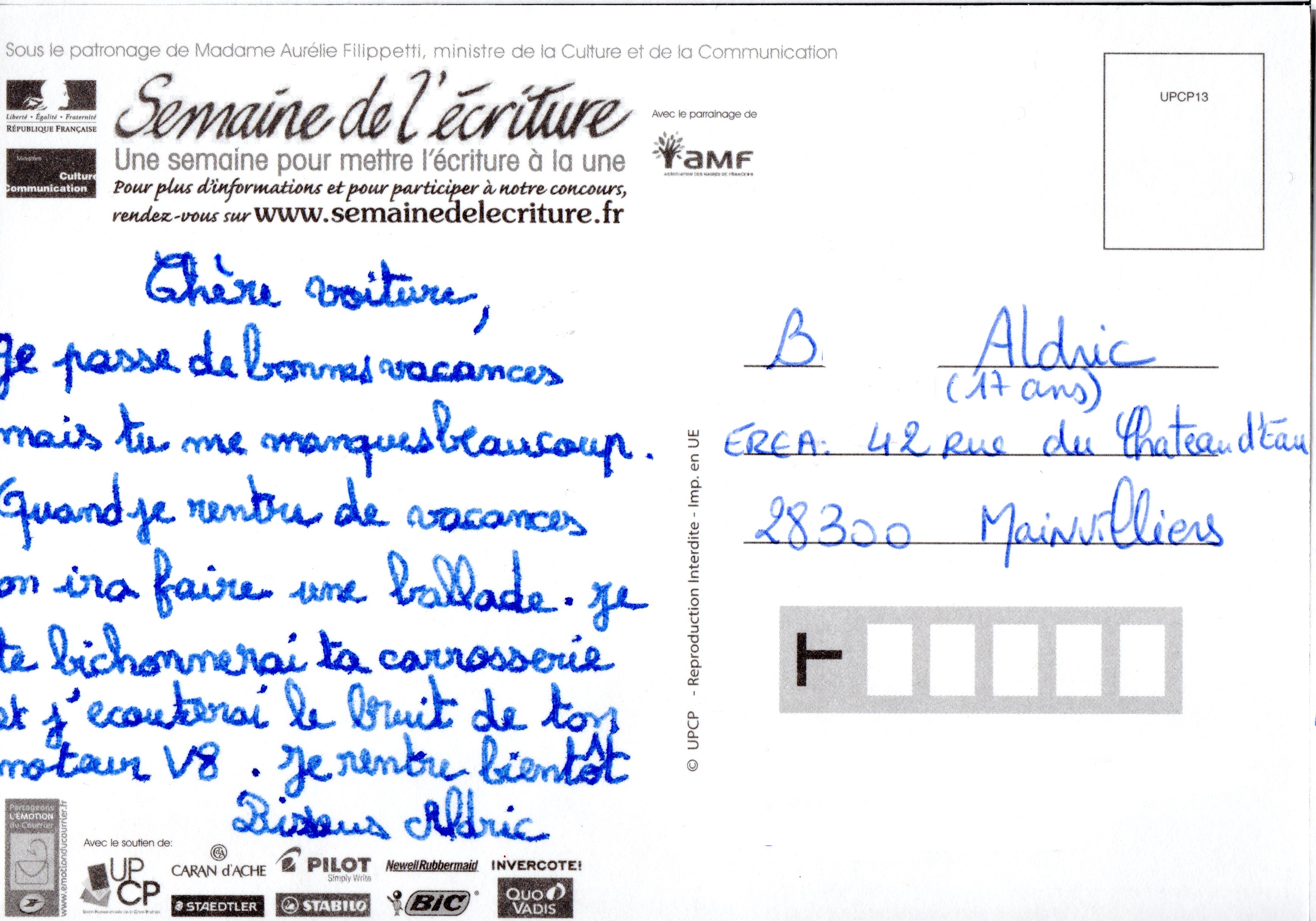 Comment ecrire des cartes postales ?