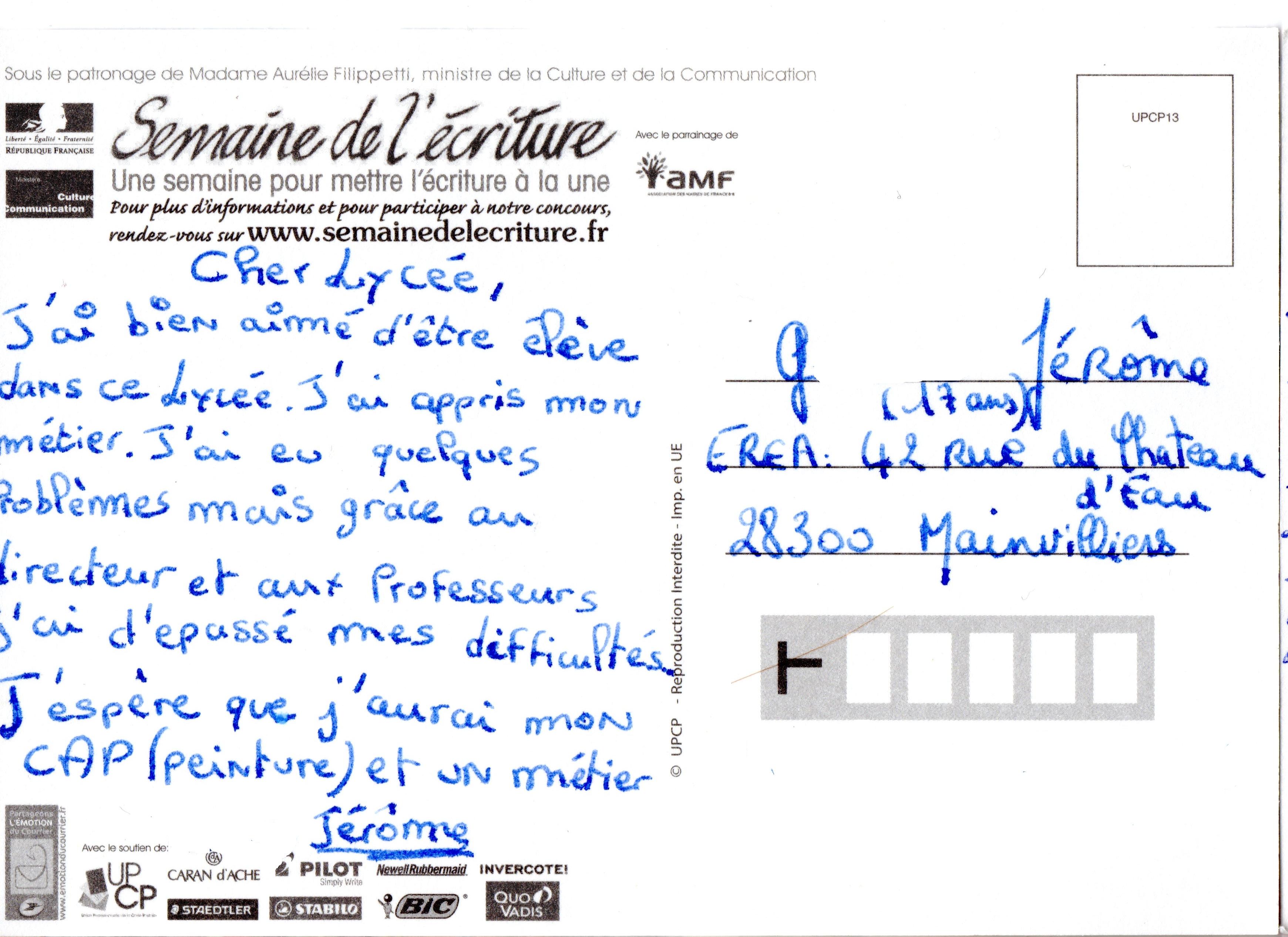 Concours d'écriture : Mon plus beau texte sur Carte Postale - CDI de l'EREA François Truffaut